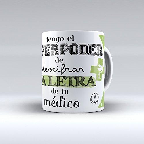 Taza cerámica desayuno regalo original profesión farmacéutico, farmacéutica 'tengo el superpoder de descifrar la letra de tu médico'