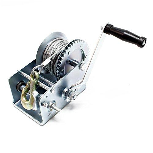 Cabrestante manual torno de 10m cable capacidad de arrastre máx. 900 kg transmisión 4:1 & 8:1