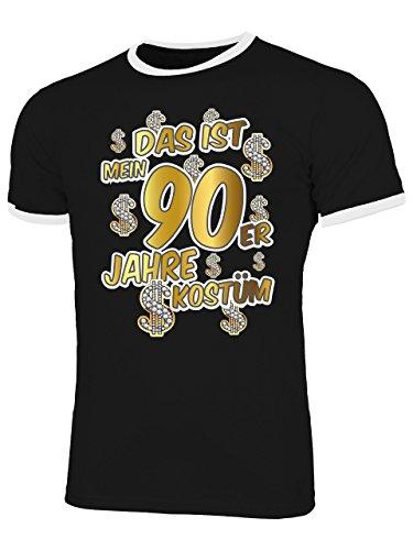 Das ist Mein 90er Jahre Kostüm 4524 Karneval Faschingskostüm Herren Ringer Fun-T-Shirts Schwarz Weiss XXL
