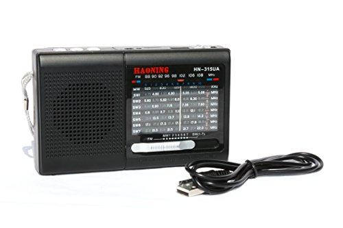9 Band Weltempfänger mit wiederaufladbarer Batterie - Mini tragbarer Musik-Player unterstützt TF Card/USB/SD / MP3-Format/FM-Radio mit hochsensiblem Radio-Tuner