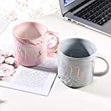 Uarter Marbling Tassen Keramik Kaffeetassen Mr Mrs Kaffeetassen mit goldenen Mustern, perfekt für Kaffee, Tee und Wasser, 400 ml, 2er Set(Decke und die Löffel dabei sind nicht)