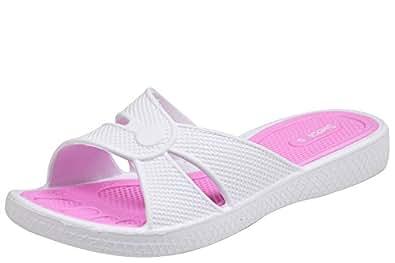 Siebi's Stripes Damen Dusch- und Badeschuhe Pantoletten Pink (38 EU, Pink)