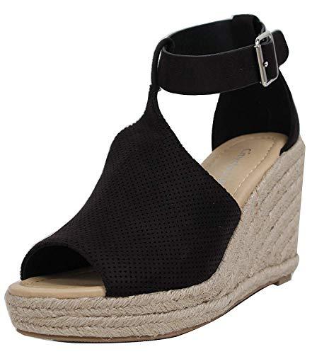 Donne sandali con zeppa peep toe cinturino alla caviglia fibbia scarpe  estive faux suede espadrillas nero f2b5b1babee