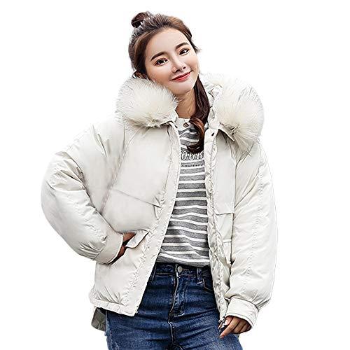 CUTUDE Mantel Damen, Frauen Winter Jacke Mit Kapuze Puffer Daunenjacke Lange Parka Jacken Coat Outerwear (Weiss,)