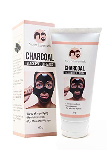 Maya Essentials Activated Charcoal Peel Off Black Mask - Blackhead remover, Deep Pore Cleansing for Face Nose Acne Pimple Oily Skin Remover- 60ml, 60g