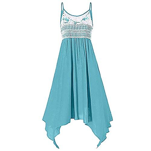 Yvelands Weste Minikleid Mode Sexy Leibchen Ärmellos Chiffon Spitze Spleißen(Blau,L)