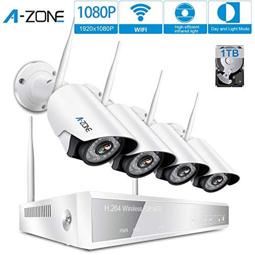 A-ZONE Kit Videosorveglianza WIFI 1080P Full HD 4 Canali Wireless NVR + 4pcs 1080P Telecamere Videosorveglianza Esterno Kit Telecamera WIFI IP con disco rigido da 1TB