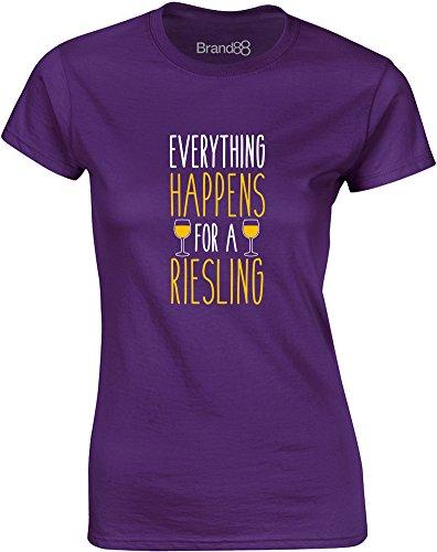 Brand88 - Everything Happens for a Riesling, Gedruckt Frauen T-Shirt Lila/ Weiß