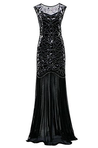 Metme Frauen der 1920er Jahre Perlen Pailletten Vintage Classic lange Flapper Gatsby Prom (Flapper Kostüme Sexy Klassische)