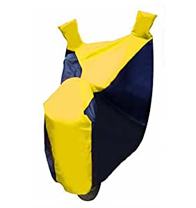 AUTO SHELTER Star Fusion (Navy Blue with Yellow) Bike Body Cover for Honda CB Unicorn 160 (With Side Mirror Pocket)