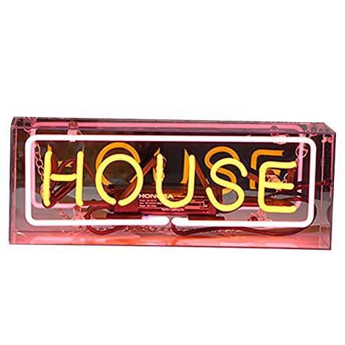 SUNERLORY Caja colgante decorativa Letrero de neón, ambient acrílico Luz artesanal Regalos Lampara para Fiesta Boda Bar Dormitorio Cumpleaños (La Navidad Luces Casa De Para)