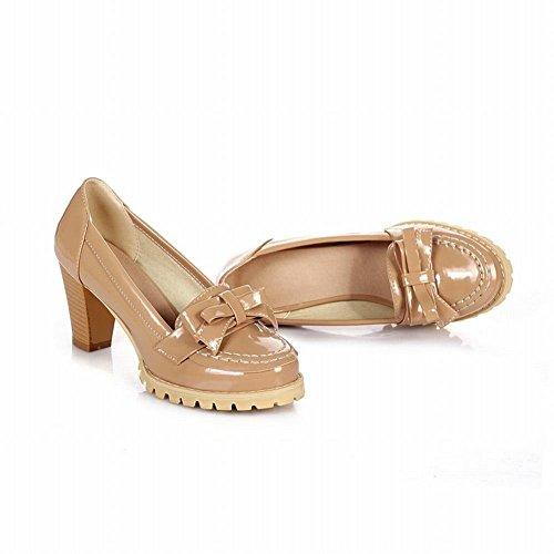 Mee Shoes Damen modern süß bequem Geschlossen Blockabsatz mit Schleife runder toe Plateau Pumps Hellbraun