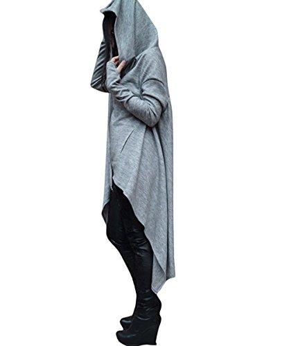Sweat a Capuche Large File Sweatshirt de Sport Hip Hop Pullover Oversize Robe Casual Pull Asymetrique Femme Long Hiver Grande Taille Hoodie Pull Manche Longue avec Poche Ample Chemisiers Beau Joli Gris