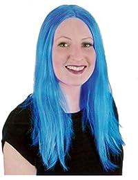 Islander Fashions Peluca recta larga de las pelucas largas azules de las mujeres