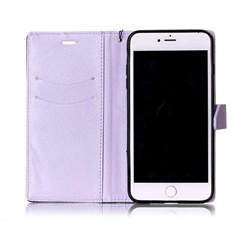 iPhone 7Plus Case, Case First due colori design PU pelle portafoglio Case Cover Flip Cover con Cinturino da Polso e Card Slot per iPhone 7Plus Licht Lila + Schwarz