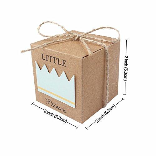100Papier Geschenk-Box Candy Boxen Baby Dusche Hochtzeit begünstigt, und Geschenke Box für Gäste 5,1x 5,1x 5,1cm Party Supplies (Boy) (Billig Baby Dusche Süßigkeiten)
