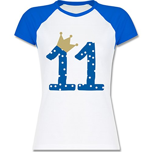Geburtstag - 11. Geburtstag Krone Junge Elfter - zweifarbiges Baseballshirt / Raglan T-Shirt für Damen Weiß/Royalblau