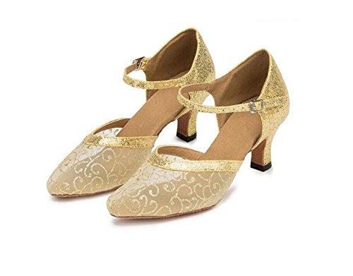 SQIAO-X- Scarpe Da Ballo, Low-Cut Mesh In Latino A Tacco Alto Fondo Morbido Yiu Chi Square Dance Dance Dance Scarpa L'Oro