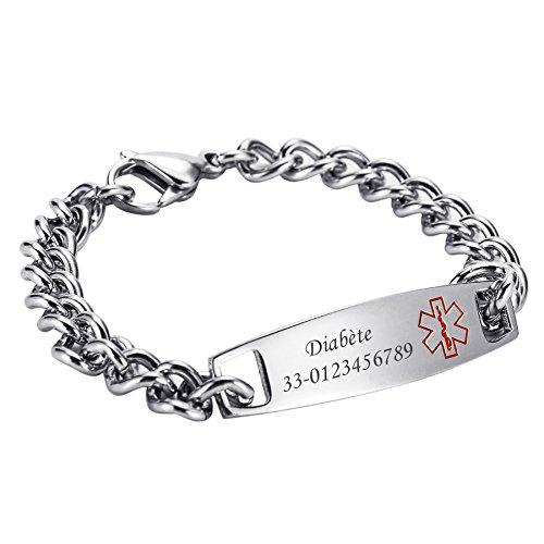 HOUSWEETY Alerte Medicale Bracelet Gourmette d'Identification Lien Poignet Acier Inoxydable + Gravure Service Offre