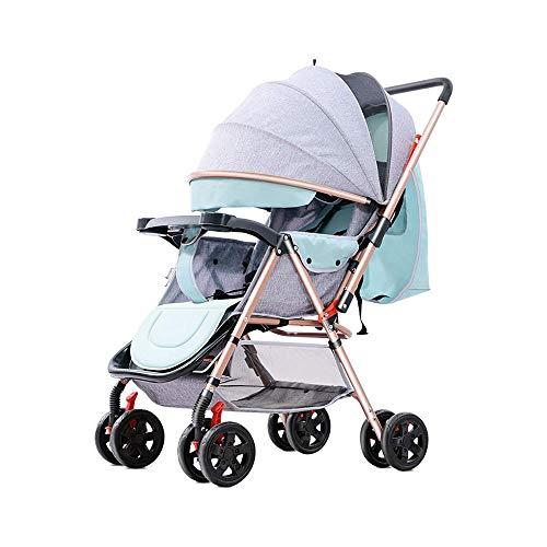 GRHLYR Cochecito de bebé Cochecito plegable compacto y liviano, Silla de paseo portátil de dos vías for cochecito de bebé recién nacido, Verde