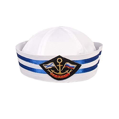 Bontand Yacht Kapitän Hat Lustige Party-Hüte Weiß Seemann-Kapitän Hat Wasser Hüte Seemann Gob Cap Yacht-Hut Für ()