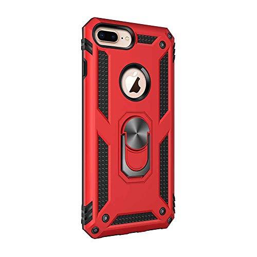 iPhone 8 Plus Hülle, iPhone 7 Plus Handyhülle mit Ring Ständer 360 Grad Drehbarer Ring Halter 2 in 1 Dual Layer Hybrid Armor Stoßfest Anti-Kratzer Schutzhülle (iPhone 7 Plus / 8 Plus, Rot) - Dual 7