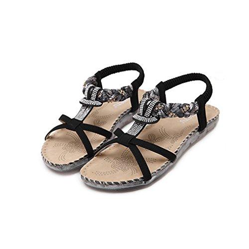 Damen Sommer Bohemia Schuhe Strass Flach Flip-Flop Mädchen Bequeme Strand Zehentrenner Sandalen Schwarz-2