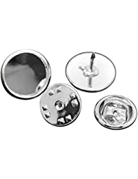 Housweety 30 Sets Supports Rond Broche Epingle Couleur Argente 14mmx10mm 11mmx6mm(pr 12m)