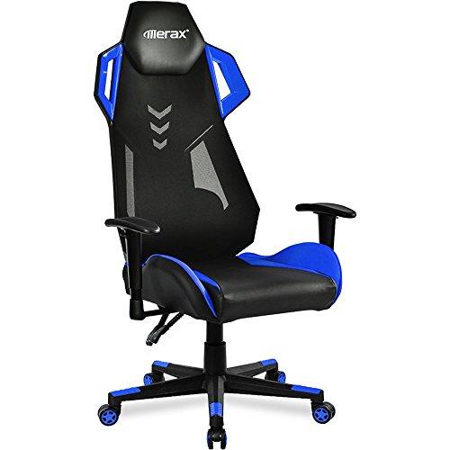 Merax Gaming Racing Stuhl Sessel, schreibtischstuhl sportsitz Racing Stuhl mit Kunstlederbezug/Air Mesh/verstellbare Armlehnen& Rückenlehne/belastbar bis 140kg/TÜV geprüft/Blau