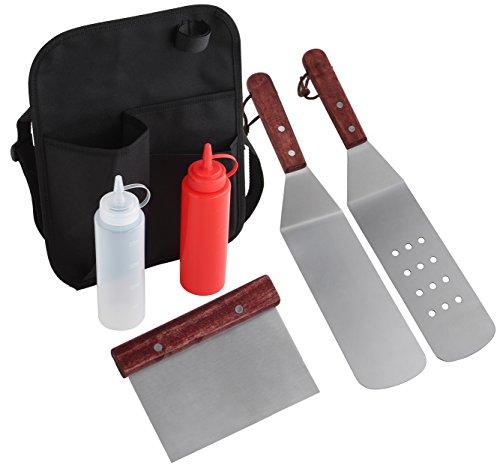 Grilljoy 6 Stück Professional Grade Edelstahl Grillwender Grillspachtel Grill BBQ Tool Kit mit Gürteltasche - Perfekt für Flat Top Kochen, Camping und Tailgatin