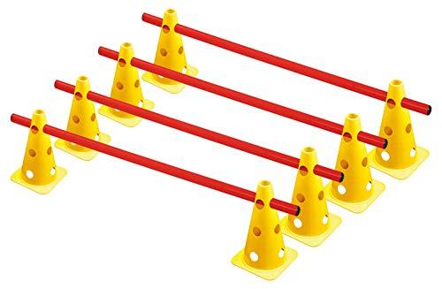 RHINOS sports Steckhürdenset, Kegelhürden 4er-Set   22,5cm   gelb