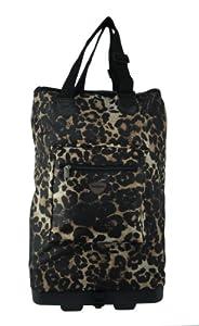 Wheeled Hand Luggage Cabin Bag Folding Flight Bag On Wheels Ryanair 54x38x19 Brown Leopard