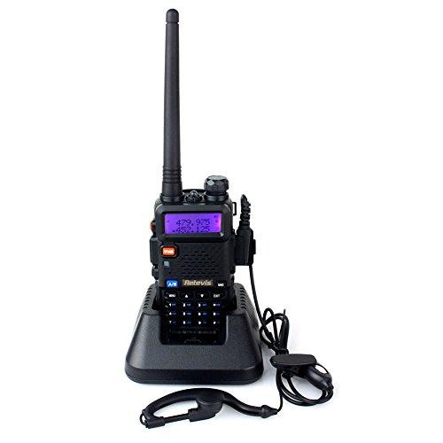 Foto de Retevis RT-5R Walkie Talkie Dual Banda Doble Standby UHF 400-520MHz VHF 136-174MHz 128Canales FM Radio 1750Hz Tono Burst (Negro, 1 pack)