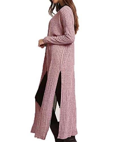 Kidsform Gilet Femme Uni Cardigan Manches Longues Veste en Tricot Chandail Ouvert Rose