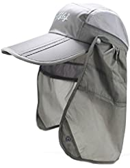 Outdoor UPF 50+ Protection Wide Visor Fishing Hat Breathable Quickly Dry with Removable Sun Shield Mask, Light Grey