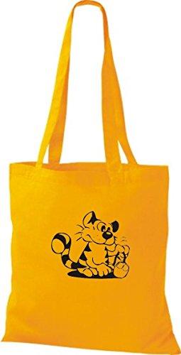 ShirtInStyle Stoffbeutel Katze Motive Rasse Katze Lustige Tiere Züchter Cat diverse Farbe yellow