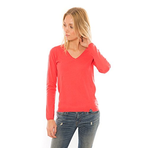 HECTOR ET LOLA Pull Femme - Col V - Coton - Cachemire rouge eclat