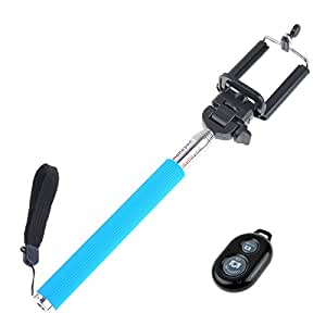 5IVE Selfie Stick Extendable Handheld Monopod Pole with Adjustable Phone Holder (Blue + Bluetooth Shutter)