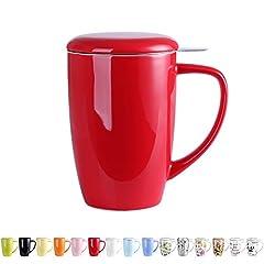 Idea Regalo - LOVECASA Tazza da tè con Infusore Acciaio Inox in Ceramica Porcellana, Filtri e Colini da tè, Filtro Infusori per tè, Set da tè caffè Mugs per Una Persona, 450ml, Rosso
