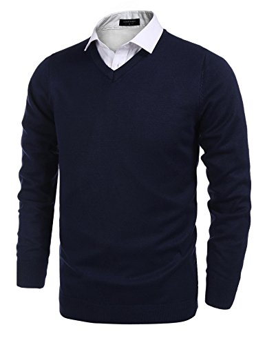 COOFANDY Mens Slim Fit Casual V-Neck Cotton Pullover Knitted Sweater