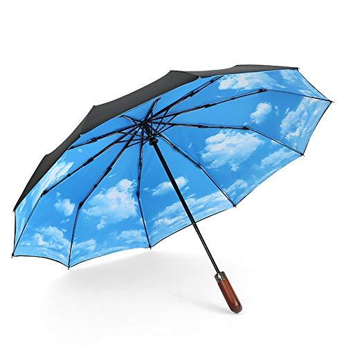 Regenschirm Folding Umbrella Männer Frauen Frauen: 10 Kastagnetten Triplet Falten Wind Resistant Wasserabweisend Hochklassige Gefühl Leicht Regen und Regen Kombination Regen Schutzmaßnahmen Gentlemans