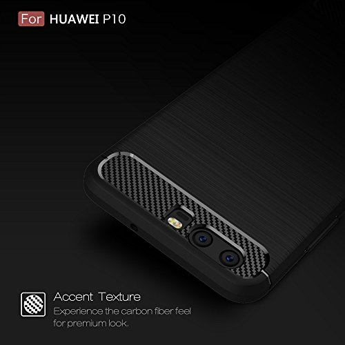 EKINHUI Case Cover Dünne und Leightweight gebürstete Carbon Fibre Robuste Rüstung Back Cover Stoßstange Fall Shockproof Drop Resistance Shell Cover für Huawei P10 ( Color : Green ) Gray