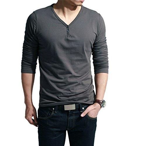 MEXI Herren V-Ausschnitt Slim Fit Langarm T-shirt Hemd lässig Oberteile Top M-XXL Stil 03-Dunkelgrau