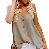 Angerella Women Summer Strappy Tank Tee Loose Casual Sleeveless Shirts Blouses,Large