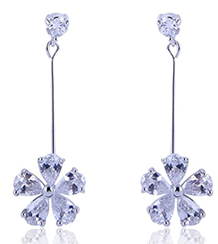 SaySure - Dangle Drop Earrings 10KT White Gold Filled AAA Zircon Stone