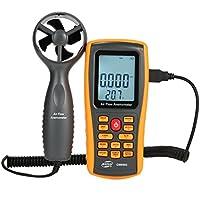 Digital Windmesser Anemometer, LCD Windgeschwindigkeitsmesser Luftstrom Geschwindigkeitsmessung Thermometer handwindmesser Gerät für Surfen/Kite/Fliegen/Segeln/Surfen/Angeln (GM8902)