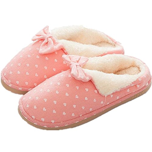 Minetom-Hombres-Mujer-Invierno-Algodn-Zapatillas-De-Estar-Por-Casa-Bowknot-Unisexo-Zapatilla-Pareja-Corazn-Rayas-Slippers