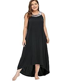 Vestito Stile Impero Donna Lungo Moda Abito Taglie Forti Casual Giorno  Vestiti con Paillettes Vestitini Estivi 7b9acc00874