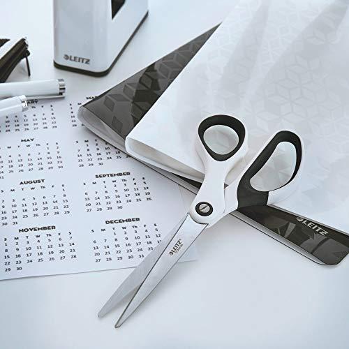Leitz WOW Titan Qualitätsschere für Rechts- oder Linkshänder (beidhändig), perlweiß, Ergonomischer Griff, 53192001