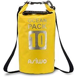 Asiwo Bolsa Estanca 10L Seca Impermeable para Kayak, Aventuras, Camping